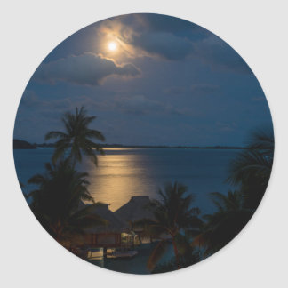 Moon one will bora will bora classic round sticker