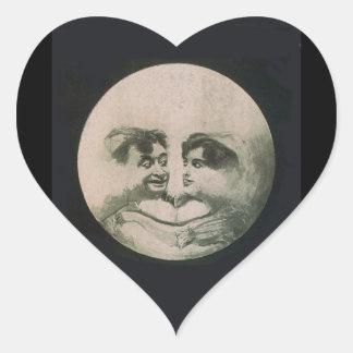 Moon Optical Illusion Heart Sticker