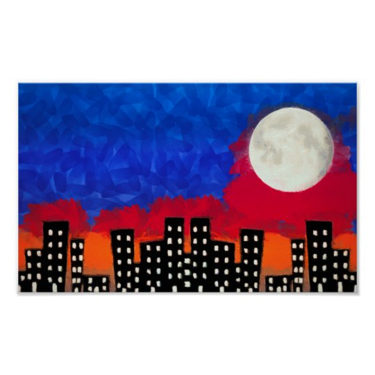 Moon Over City Poster