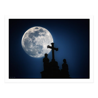 Moon over Cusco Cathederal, Peru. post card