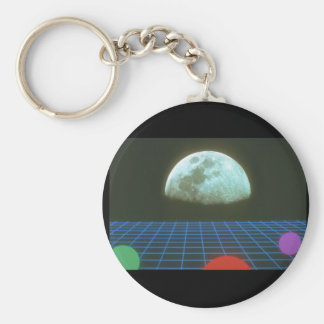 Moon over Grid. (moon_Space Scenes Basic Round Button Key Ring