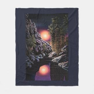 Moon over Indian Canyon fleece blanket