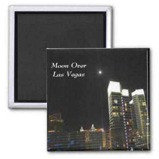 Moon Over Las Vegas Square Magnet