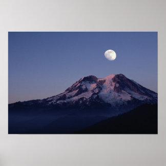 Moon Over Mount Rainier Poster