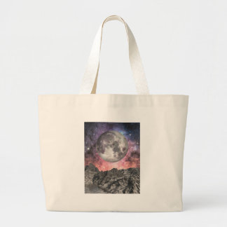Moon Over Mountain Lake Large Tote Bag