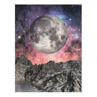 Moon Over Mountain Lake Postcard