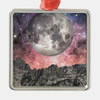 Moon Over Mountain Lake Silver-Colored Square Decoration