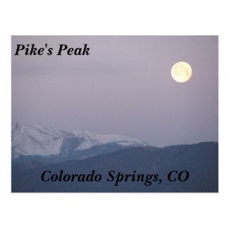Moon Over Pike's Peak Postcard