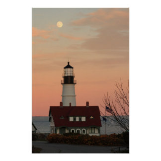 Moon Over Portland Head Lighthouse Poster