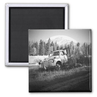 Moon Over Rust Old Farm Truck Square Magnet