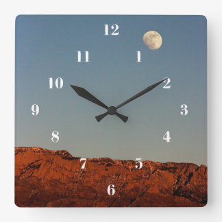 Moon Over Sandias Square Wall Clock