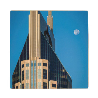 Moon Over The At&T Building In Nashville Wood Coaster