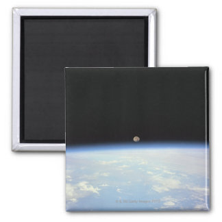 Moon Over the Earth Square Magnet
