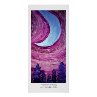 moon over trees poster