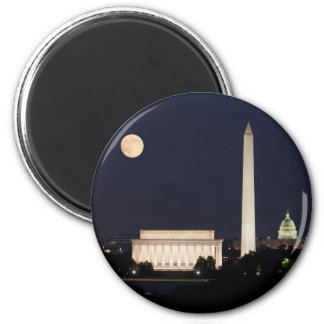 Moon over Washington DC 6 Cm Round Magnet