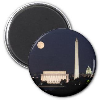 Moon over Washington DC 6 Cm Round Magnet