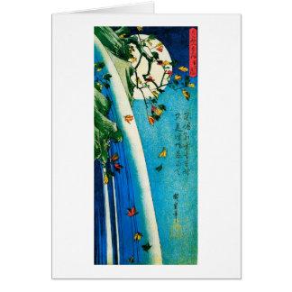 Moon Over Waterfall Hiroshige Japanese Fine Art Card