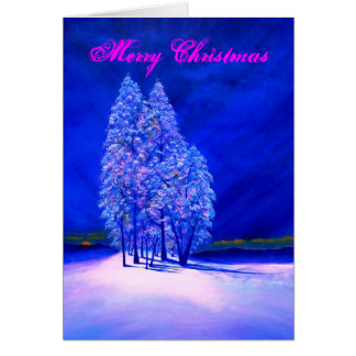 Moon Peeking at Frosty Trees Card