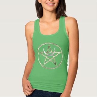 Moon Pentacle Ladies Slim Fit Racerback Tee Shirt