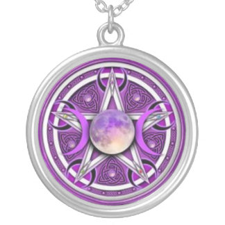 Moon pentacle silver plated necklace