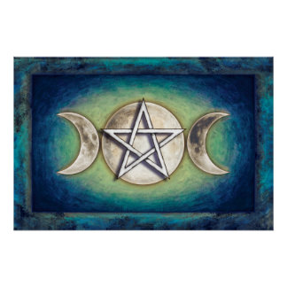 Moon pentagram - three-fold moon Artwork II Poster