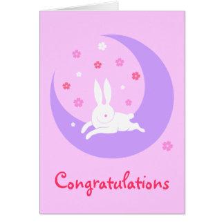 Moon rabbit baby card