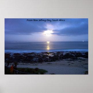 Moon Rise over Supertubes, J-Bay Bay, South Africa Poster