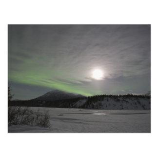 Moon rises over curtain of green aurora borealis postcard