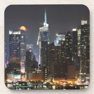 Moon rises over midtown New York. Beverage Coaster