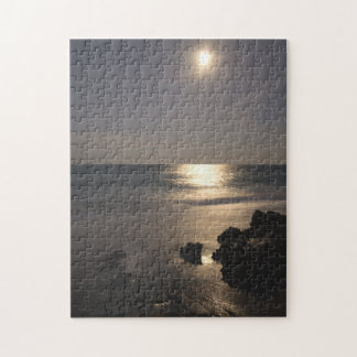 Moon Rising Over Ocean Jigsaw Puzzle