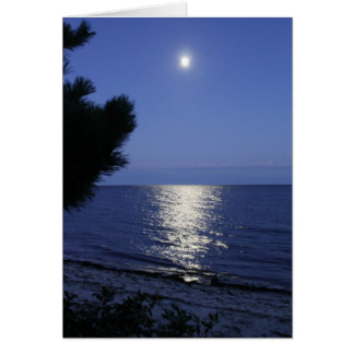 Moon Rising Over Ocean Note Card