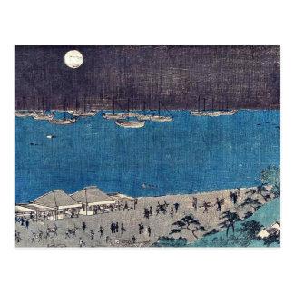 Moon scene at Takanawa by Andō, Hiroshige Ukiyo-e Postcard