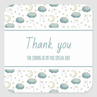Moon, stars and Raindrops Thank you Square Sticker