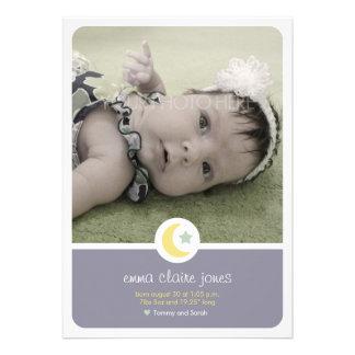Moon Stars Birth Announcement Photo Card