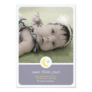"""Moon Stars Birth Announcement Photo Card 5"""" X 7"""" Invitation Card"""