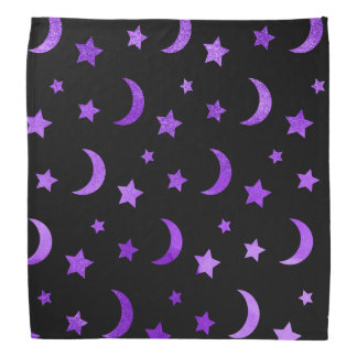 Moon & Stars Halloween Bandanna Purple