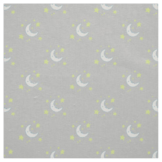 Moon & Stars Original Textile Print - Gray Fabric