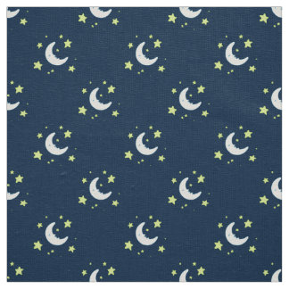 Moon & Stars Original Textile Print on Navy Fabric
