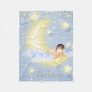 Moon Stars Personalized Baby Boy Blanket