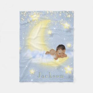 Moon Stars Personalized Ethnic Baby Boy Blanket