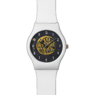 Moon & Stars -  Romantic Saying on Gold And Black Wristwatch