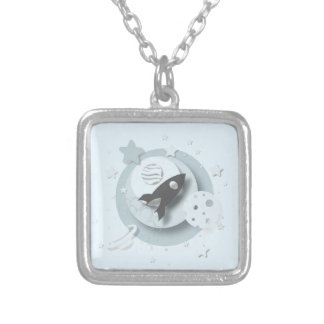 Moon & Stars Square Pendant/Necklace Silver Plated Necklace