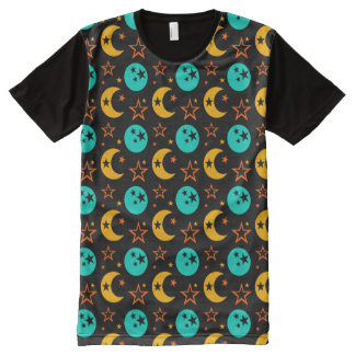 Moon Stars Starry Sky Galaxy Astrology Wiccan All-Over Print T-Shirt