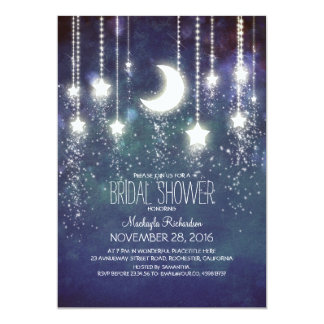Moon Stars & String Lights Bridal Shower 13 Cm X 18 Cm Invitation Card