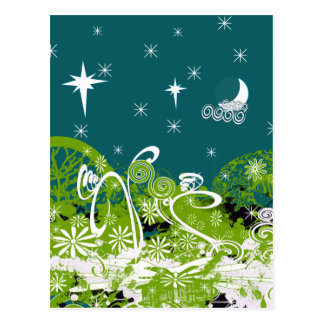 Moon Stars Swirl Paint Splat Postcard
