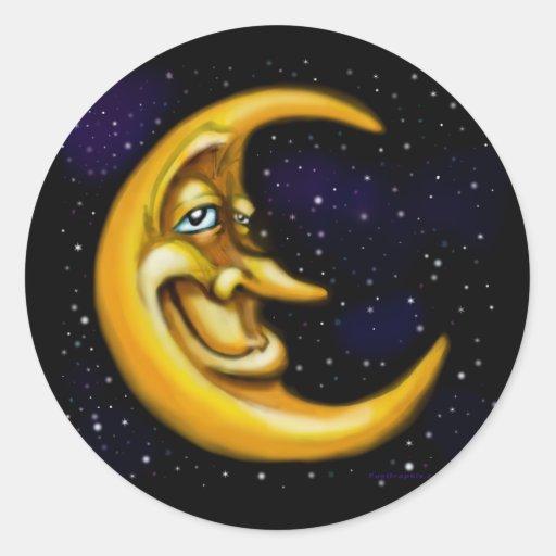 Moon Round Sticker