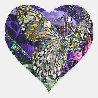 Moon Struck Butterfly! Heart Sticker