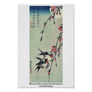 Moon,swallows and peach blossoms by Ando,Hiroshige Poster