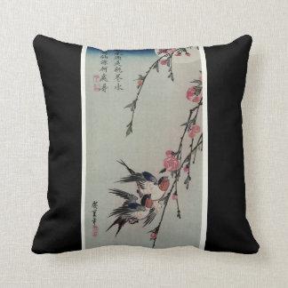 Moon, Swallows, and Peach Blossoms circa 1850 Cushion