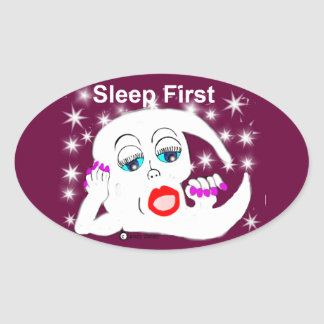 Moon, The Stars...Sleep is What We Need Oval Sticker